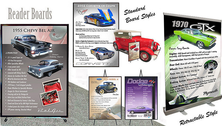 CAR SHOW BOARDS Auto Art Prints Reader Boards Signs Plaques - Car show signs